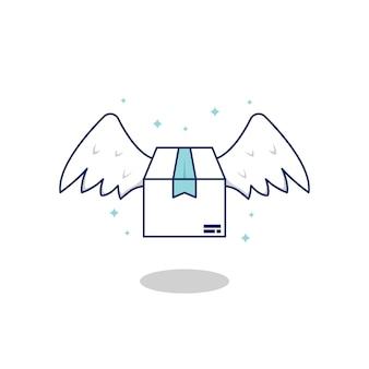 Vliegende snelle pakketpakketlevering met vleugel die uit hemel, de illustratie van het leveringspakket komt