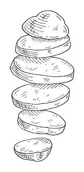 Vliegende stukjes verse aardappel vintage vector graveren zwarte illustratie geïsoleerd op wit