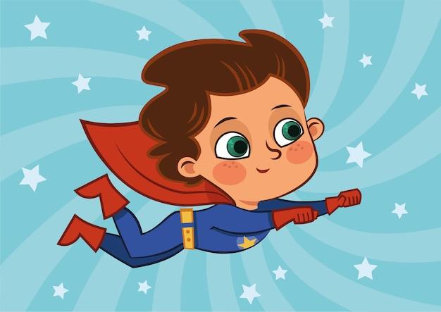 Vliegende superheld jongen vectorillustratie
