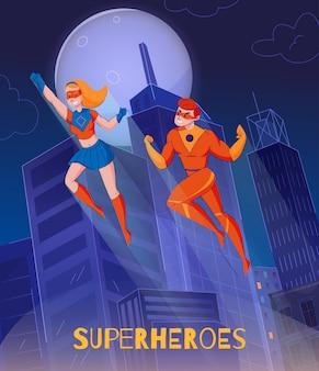 Vliegende superhelden zweven boven de stadstorensstrips van de nacht, vragen de vrouw super man karakters achtergrondaffiche