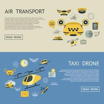 Vliegende taxi iconen collectie