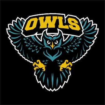 Vliegende uil logo mascotte
