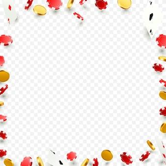 Vliegende vallende pokerkaarten met speelchips en munten. casino-objecten op de transparante achtergrond. vector illustratie