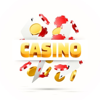 Vliegende vallende pokerkaarten met speelchips en munten. casino objecten op de witte achtergrond. lege ruimte voor tekst. vector illustratie