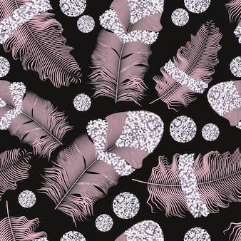 Vliegende veren. vallende draaide realistisch. naadloos patroon.