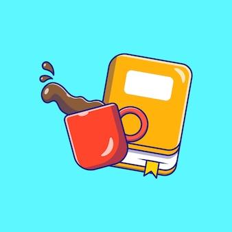 Vliegende verse kop koffie en boek platte pictogram illustratie geïsoleerd