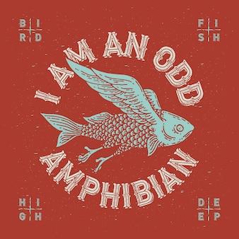 Vliegende vis handgemaakte illustratie