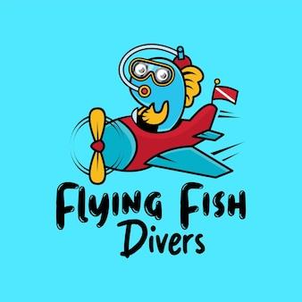 Vliegende vissen duikers schattig cartoon logo