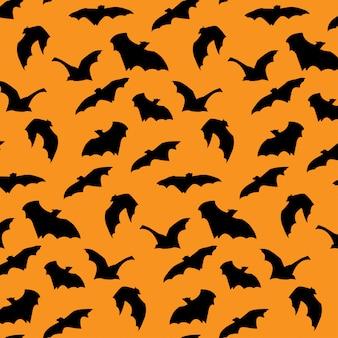 Vliegende vleermuis silhouet halloween naadloze patroon