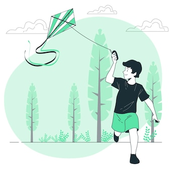 Vliegende vlieger concept illustratie