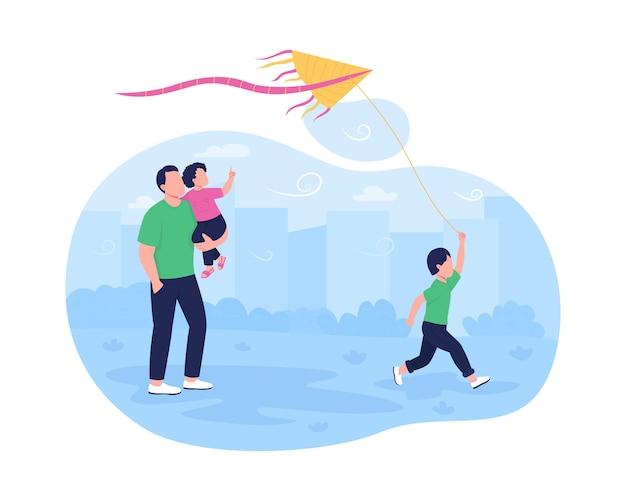 Vliegende vlieger met kinderen 2d-web,