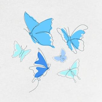 Vliegende vlinder sticker, blauwe lijn kunst vector dierlijke illustratie set