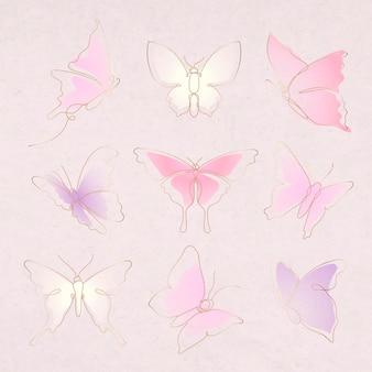 Vliegende vlinder sticker, roze kleurovergang lijn kunst vector dierlijke illustratie set