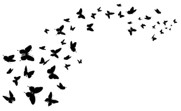Vliegende vlinder zwarte silhouetvlinders