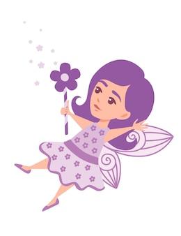Vliegende vlinderfee met toverstaf in de vorm van een bloem en het dragen van een stripfiguur in paarse kleding