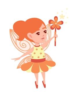 Vliegende vlinderfee met toverstaf in de vorm van een bloem en het dragen van oranje kleding cartoon vector