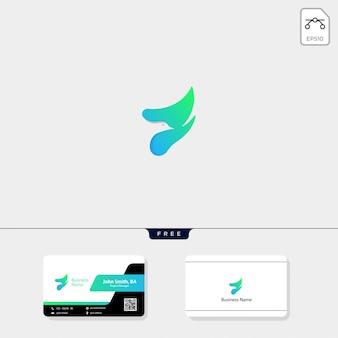 Vliegende vogel logo en krijg gratis visitekaartje ontwerp