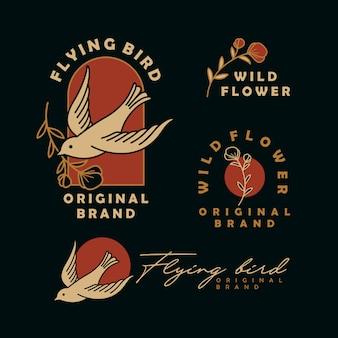Vliegende vogel met bloem vintage logo ontwerpsjabloon