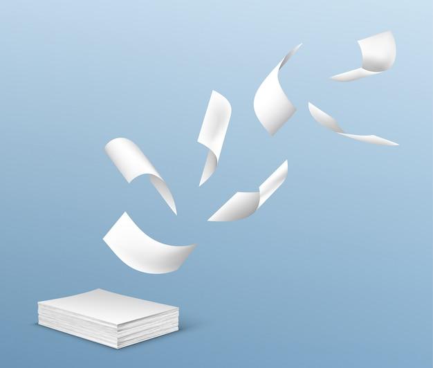 Vliegende witboekbladen van stapel documenten
