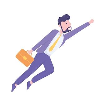 Vliegende zakenman cartoon
