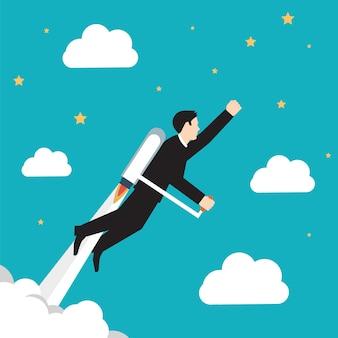 Vliegende zakenman op blauwe hemel