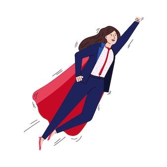 Vliegende zakenvrouw stripfiguur in superheld cape