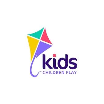 Vlieger illustraties kids logo concept