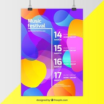 Vliegerconcept voor muziekpartij met kleurrijke vormen