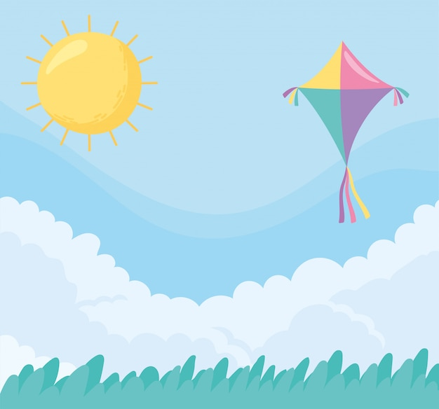Vliegeren op een zonnige dag