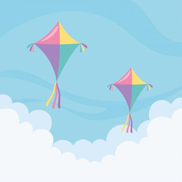 Vliegers die door de wolken vliegen Premium Vector