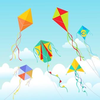 Vliegers die in wolkenillustratie stijgen