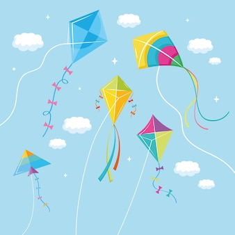 Vliegers die naar de lucht vliegen
