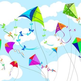 Vliegers en hemel met wolken horizontaal naadloos patroon. speelgoed en spelen, wind en spel, lucht en vrijheid