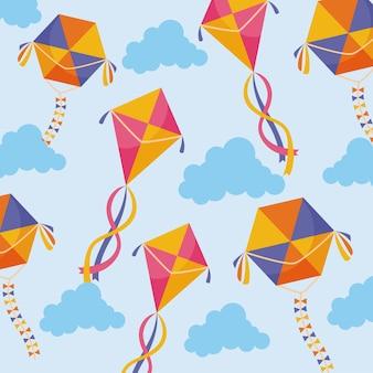 Vliegers en wolken naadloos patroon op blauw
