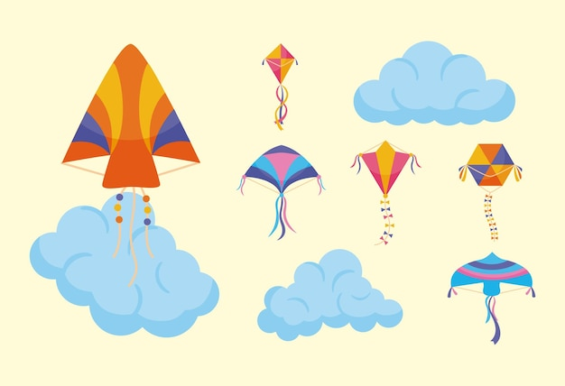 Vliegers en wolken symbool ingesteld op geel