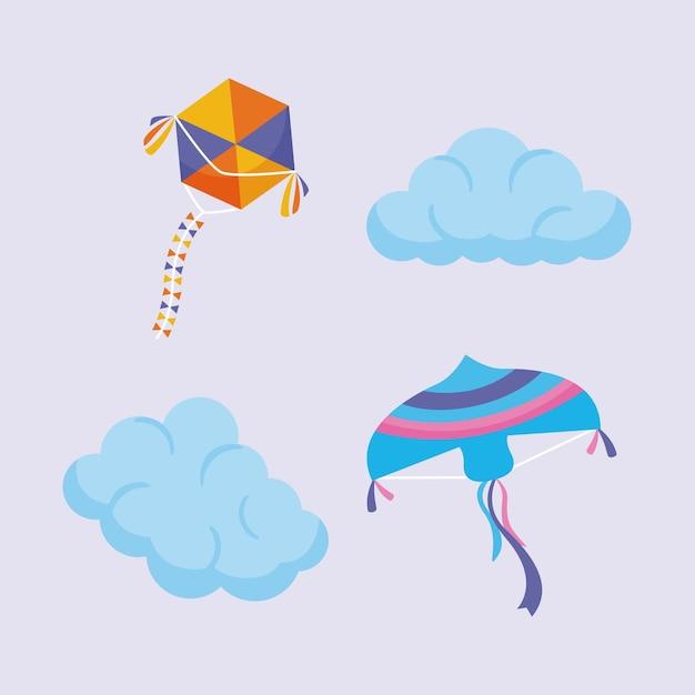 Vliegers en wolkenelementen ingesteld op grijs