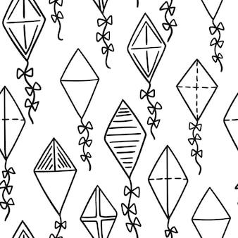 Vliegers naadloos patroon. vliegende vliegers achtergrond. vector illustratie