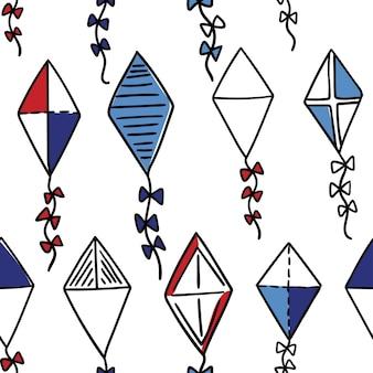 Vliegers naadloos patroon. vliegende vliegers