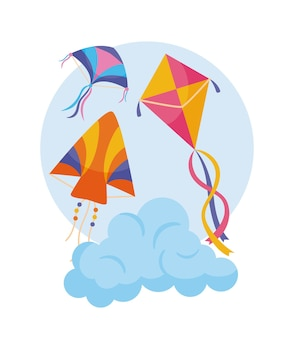Vliegers op wolk op wit
