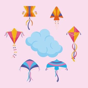 Vliegers rond wolk op roze