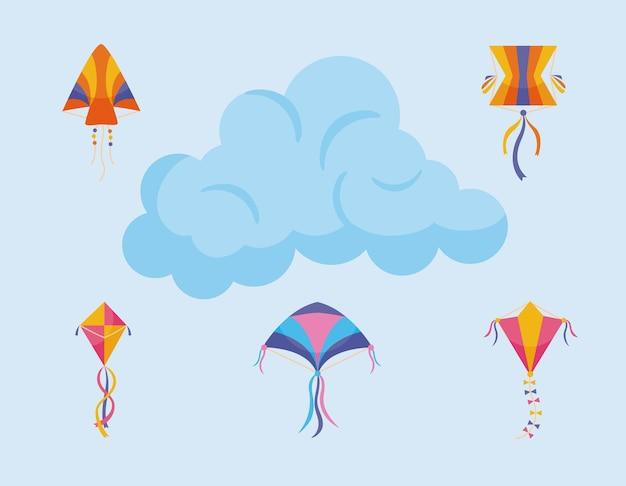 Vliegerselementen ingesteld met wolk op blauw