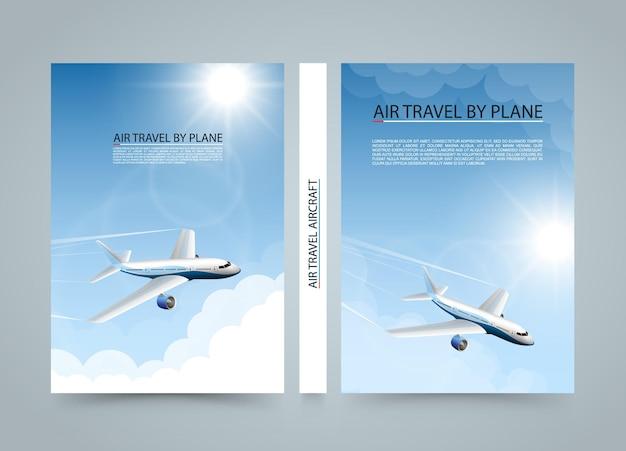 Vliegreizen per vliegtuig, moderne vliegtuig zon banners, dekking a4-formaat, vliegtuig opstijgen bij zonsondergang, luchtvaartmaatschappij vervoer, vectorillustratie