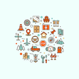 Vliegreizen, resortvakantie, tourplanning, recreatieve rust, vakantiereis lijn platte symbolen. modern infographic logo pictogram