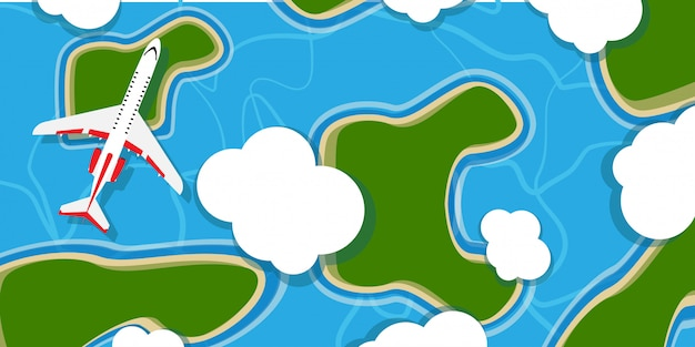 Vliegtuig boven de illustratieachtergrond van de hemelwolk. reizen cartoon vliegende jet bovenaanzicht. outdoor vakantie avontuurlijke vakantie