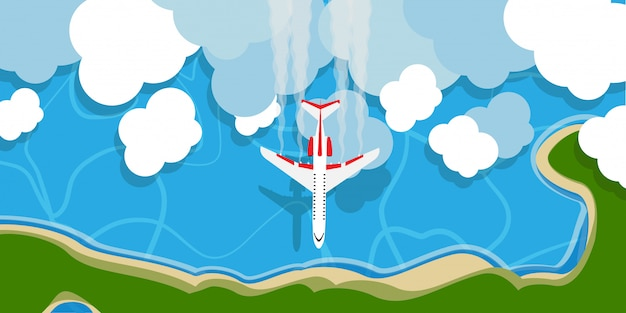 Vliegtuig boven de illustratieachtergrond van de hemelwolk