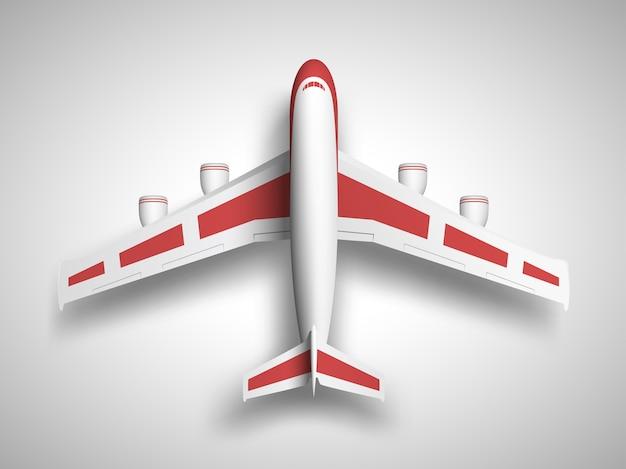 Vliegtuig bovenaanzicht op witte achtergrond
