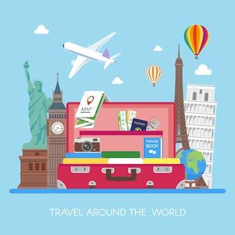 Vliegtuig dat boven toeristenbagage, kaart, paspoort, kaartjes, fotocamera en oriëntatiepuntenillustratie vliegt