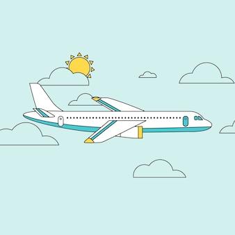 Vliegtuig dat door wolken vliegt in plat lijnontwerp