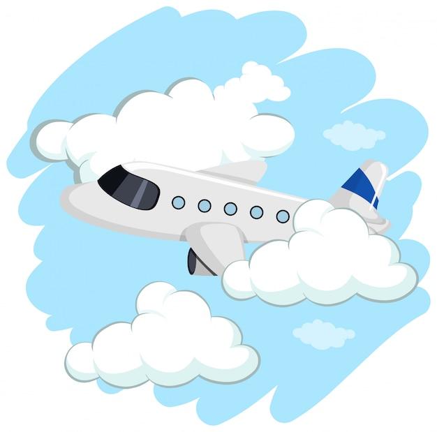 Vliegtuig dat hoog in hemel vliegt