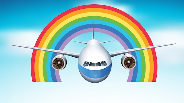 Vliegtuig dat in blauwe hemel met regenboog vliegt
